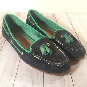 Sperry blue green suede tasseled loafers 8M